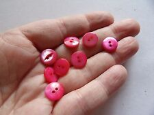 """SET 7 TINY  DYED PINK NATURAN MOTHER OF PEARL 2 HOLE BUTTONS 7/16 """" 11MM Z40"""