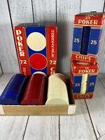 Vintage 1950s POKER CHIPS 110+ IN Original Box UNBREAKABLE Noiseless GAMBLING