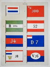 RARE Litho PAVILLON DRAPEAU PAYS BAS NEDERLAND HOLLAND BATEAU NAVY BOAT 1860 b