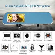 "5"" Android Smart GPS Nav Car DVR Rearview Mirror Front Rear Camera Recorder BC9T"