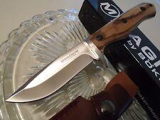 "Boker Magnum Zebra Wood Hunter Bowie Knife 440 02SC337 Full Tang 9"" OA Leather"