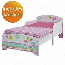 GIRLS PRETTY & PINK PATCHWORK MDF TODDLER BED + DELUXE MATTRESS NEW