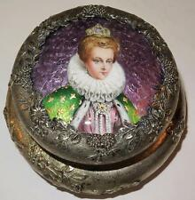 Antique Silver Enamel Powder Vanity Box Miniature Portrait Mary Queen of Scots