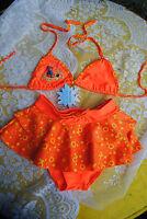 Neu Baby Triangel Bikini + Rock Bademode 92 98 104 Neckholder Volants Rüschen