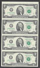 2013 Uncut Sheet $2 X 4 * Crisp Fresh 2 Dollars * EXTREMELY RARE* USA FREE SHIP