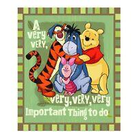 Winnie the Pooh Eeyore Piglet Tigger fleece blanket throw NEW Very Good Day