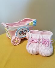 Porcelain Baby Stroller and Baby Shoes Figurines 2 Pc