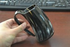 "Grayish Buffalo Horn Game Of Throne Medieval Drinking Ale Cup Mug 5"" #Yc"