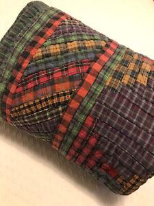 """Vintage Patch Magic Plaid DiamondPatchwork Quilt 62 x 80"""" Masculine GUC"""