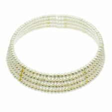 Pearl Choker Collar Necklace Four Rows of White Cultured Pearls Sterling Silver
