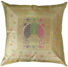 "Ethnic 24"" Pillow Cushion Cover Peacock Brocade Sofa Floor Throw INDIAN Decor"