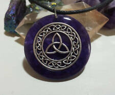 Triquetra Pendant in Purple Resin, Celtic, Wicca, Pagan Jewellery,Power of three