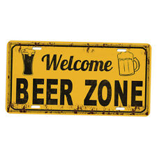 Shabby Chic Metal Tin Sign Beer Zone of Prints Kitchen Dining Pub Bar Decor
