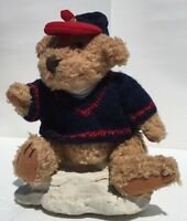 "Tully Pickford Brass Button Bears Collection 10"" Jointed Blue Knit Sweater Red"