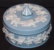 Vtg Wedgwood Of Etruria & Barlaston GLOSSY Blue POWDER JAR
