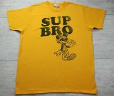"Men's Disney Parks Mickey Mouse ""Sup Bro"" Short Sleeve Yellow T-Shirt -Size XL"