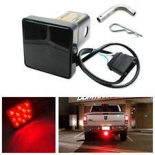 """12-LED Smoke Lens Brake Light Trailer Hitch Cover Fit Towing 2"""" Receiver w/ Pin"""