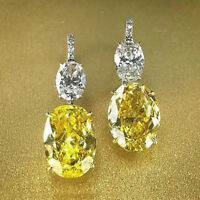 Solid 14K White Gold Finish 7.00 CT Yellow Sapphire & Diamond Drop Earrings