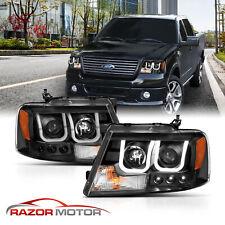 04-08 Ford F150 Black [U-Type LED Tube] Projector Headlight Lamp LH+RH