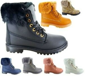 WOMENS LADIES WARM WINTER ANKLE FUR LINED GRIP SOLE COMBAT SHOES BOOTS SIZE 3-8