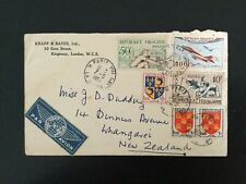 FRANCE 1954 Airmail Cover Paris to Whangerei New Zealand 195f rate (F242)