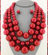 Statement Chunky Pearl Bead Beaded Strand Bib Necklace Multi Layered 3 Row Jumbo