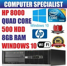 Rapide hp Ordinateur Pc Quad Core Tour Bureau Windows 10 Wi-Fi 8GB Ram 500gb HDD