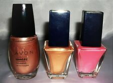 3 Lot AVON Nail Polish SPEED DRY ENAMEL Copper Gold Peach Iridescent & GIFT