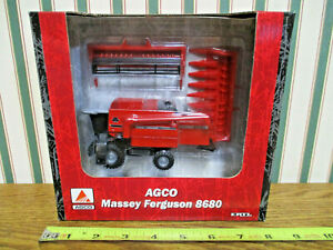 Massey Ferguson 8680 Combine With Two Heads By Ertl 1/64th Scale >