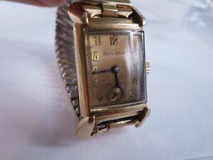 Vintage Bulova 7AK 21mm 14k Rose Gold Filled Fancy Lug 21 Jewel Mechanical  RP14
