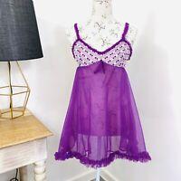 Vintage 60s Babydoll Bri-Nylon Lingerie Sheer Negligee Purple Size 10 - 12 AU