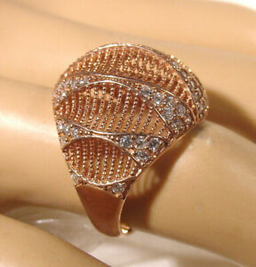 Rose Gold over Sterling silver Cluster Ring Dome design 60 round cut CZ's