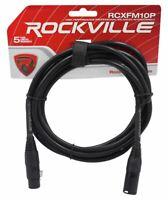 Rockville RCXFM10P-B Black 10' Female to Male REAN XLR Mic/Speaker Cable