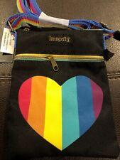 NWT Loungefly Rainbow Heart Pride Passport Crossbody Purse Bag