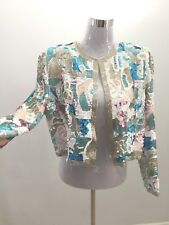 100% Silk Multi Color Sequin Embellished Shimmer Blazer Bolero Jacket Kimono L