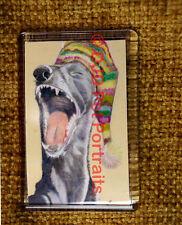 Funny Greyhound Lurcher Fridge Magnet, yawning Dog, Stocking Filler % to Charity