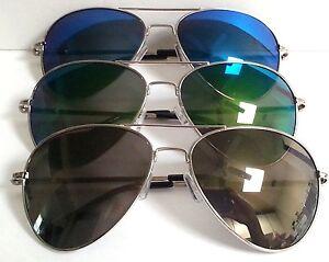 Aviator Sunglasses Flash Mirror Lenses Spring Hinges