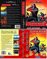 - Shinobi III 3 Genesis US EU Replacement Box Art Case Insert Cover Only