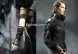 NEW RUNWAY CHANEL LONG BLACK LACE SILVER CC GLOVES 7.5