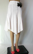 C&A Womens Casual Summer Retro Linen White Asymmetric Knee Skirt sz 14 L AQ7