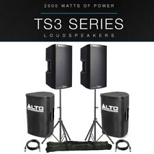 "2x Alto TS310 10"" 4000W Powered Active PA Speaker DJ Band +Stands +Covers +Leads"