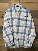 Columbia PFG Super Bahama Men's Plaid Omni Shade Fishing Button Shirt Size M
