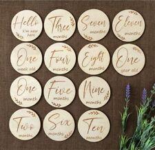 Wooden Milestone Cards Newborn Baby Shower Gift Month Cards Round Wood 14 Discs