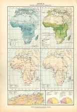 Carta geografica antica AFRICA PIOGGE VEGETAZIONE De Agostini 1927 Antique map