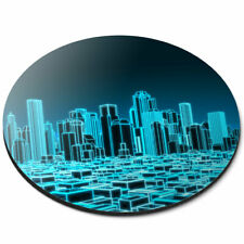 Round Mouse Mat - 3D Holographic City Urban Office Gift #2399