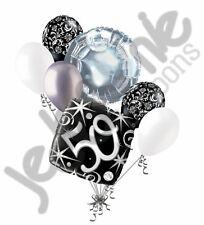 7 pc 50th Elegant Happy Birthday Sparkles Balloon Bouquet Black Damask Silver