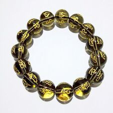 12mm Tibet Tea Synthetic crystal Bead carve om mani padme hum Amulet Bracelet