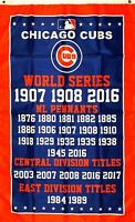 Chicago Cubs MLB World Series Championship Flag 3x5 ft Banner Man-Cave Garage