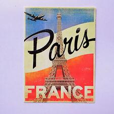 "Eiffel Tower Paris France Retro 3""x4"" Flight Jet vintage Luggage Label Sticker"