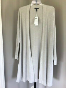 NWT! $318 Eileen Fisher Size XL Maxi Cardigan Pearl Neutral Organic Cotton, Silk